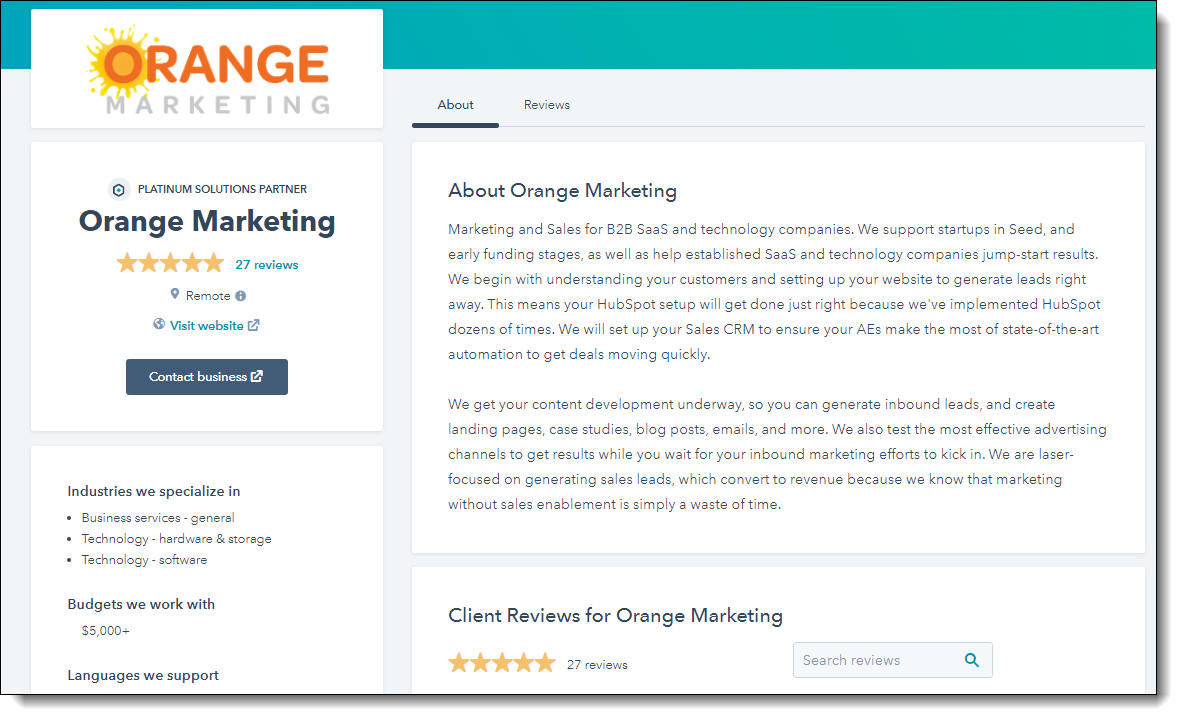 Orange Marketing HubSpot Reviews Page