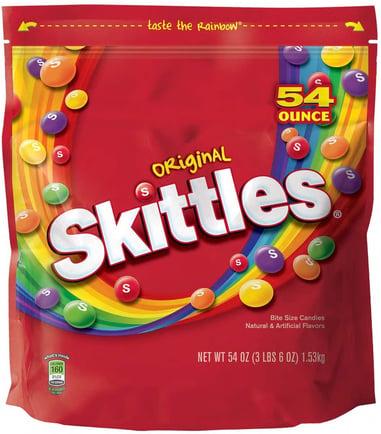 skittles rainbow of fruit flavors